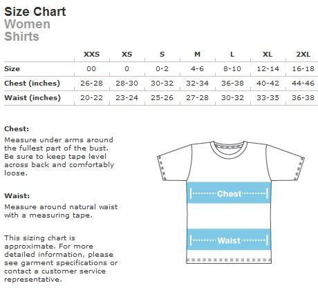 Womens shirt size chart sizing guide teeturtle ayucar com